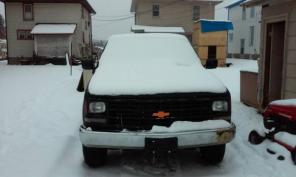 1989 Chevy pick up truck 3/4 ton 8ft bed under black primer regular ca